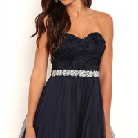 Short Strapless Homecoming Dress with Stone Trim Empire Waist