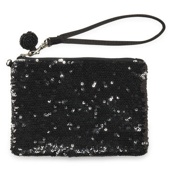 Sequined Wristlet - Black, One