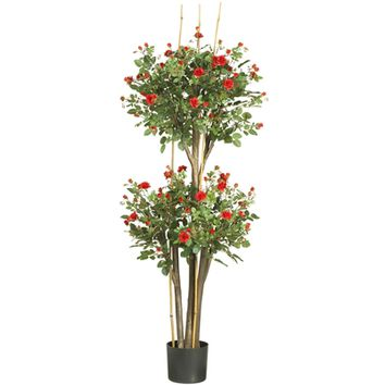 SheilaShrubs.com: 5' Mini Rose Silk Tree 5238 by Nearly Natural : Artificial Flowers & Plants