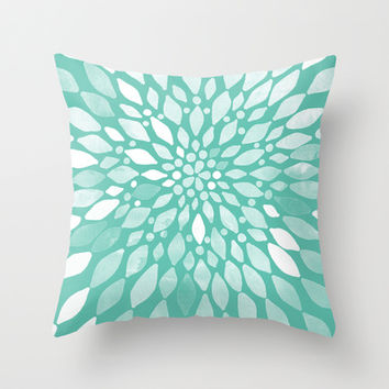 Radiant Dahlia in Teal and White Throw Pillow by Tangerine-Tane