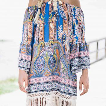 Far Out Fringe Printed Dress - Lotus Boutique