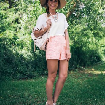 Ibiza Bombshell Salmon and Taupe High Waisted Shorts