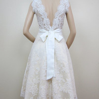 Ivory sleeveless lace wedding dress alencon lace by alexbridal