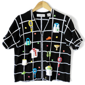 Tennis Lover Short Sleeve Tacky Ugly Sweater