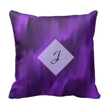 Initial Text Purple Ombre Pillow