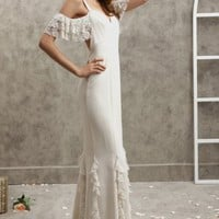 Sheath/Column Straps Lace Ruffled Silk Floor-length Dress at Dresseshop