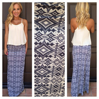 Charcoal Wanderlust Print Roll Down Maxi Skirt