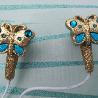 Gold and Turquoise Gllitter Butterfly earbuds by HoneyBadgerBuds