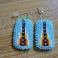 Square stitched beaded Native American Inspired Light Blue earrings