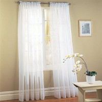 "2 Piece Solid White Sheer Window Curtains/drape/panels/treatment 60""w X 84""l"
