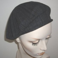 Variegated Black Cotton Knit Beret by Lemon