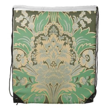 Teal Damask Drawstring Backpack