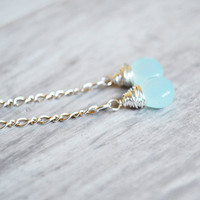 Light Aqua Earrings Chalcedony Gemstones Sterling by starletta