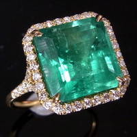 56ct Colombian Emerald Pave Set Diamonds 18k Gold by gemson47