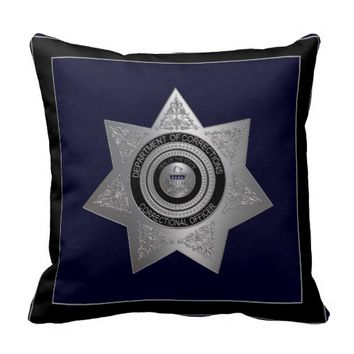 Correctional Officer Pillow Silver and Blue