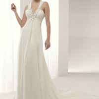 Buy Stylish White A-line V-neck Empire Waistline Court Train Chiffon Wedding Dress under 300-SinoAnt.com