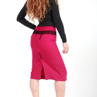 Hot pink pencil skirt finest wool sexy unique style by saphkin