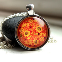 Traditional ornament necklace Floral jewelry Flower pendant Slavic charm