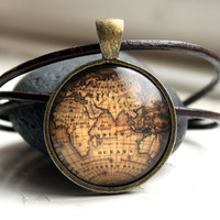 Antique map pendant Vintage necklace Old world jewelry