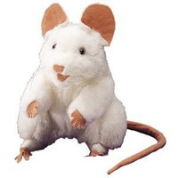Plush White Mouse Puppet 8""