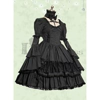 Gothic Long Sleeves Square Collar Multi-Layer Cotton Black Lolita Dress [TQL120504036] - £48.59 : Zentai, Sexy Lingerie, Zentai Suit, Chemise