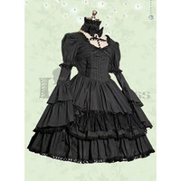 Gothic Long Sleeves Square Collar Multi-Layer Cotton Black Lolita Dress [TQL120504036] - 48.59 : Zentai, Sexy Lingerie, Zentai Suit, Chemise