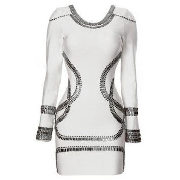 Kardashian Style White Long Sleeve Embellished Bandage Dress - Clothing | Online Boutique For Women