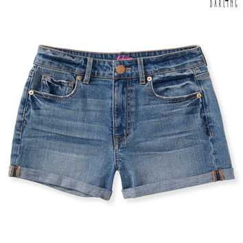 Tokyo Darling High-Waisted Medium Wash Denim Shorty Shorts