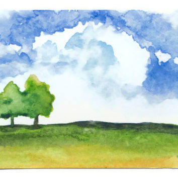 Summer Landscape Watercolor Painting ACEO Archival Print - Giclee 3.5 x 2.5