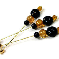 Beaded Needlepoint Counting Pins, Marking Pins, DIY Crafts, Black, Gold, Gift for Needlepoint, Counting Needles, Marking Needles