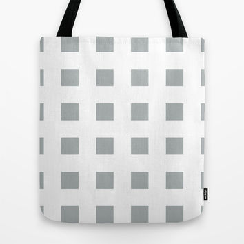 Cross Squares Grey & White Tote Bag by BeautifulHomes   Society6