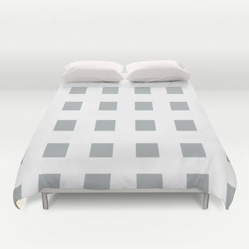 Cross Squares Grey & White Duvet Cover by BeautifulHomes   Society6