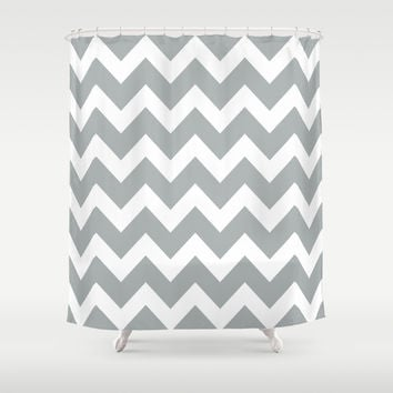 Chevron Grey & White Shower Curtain by BeautifulHomes   Society6