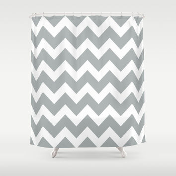 Chevron Grey & White Shower Curtain by BeautifulHomes | Society6
