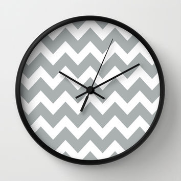 Chevron Grey & White Wall Clock by BeautifulHomes | Society6