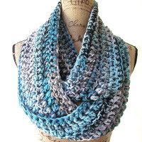 Ready To Ship Turquoise Blue Grey Gray White Black Cowl Scarf Fall Winter Women's Accessory Infinity 160