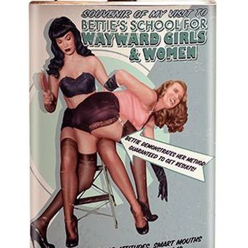 Bettie Page™ School For Wayward Girls And Women Flask by Retro-A-Go-Go!