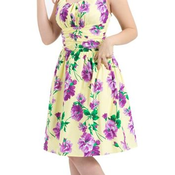 Spring Flowers Dress in Yellow | Blame Betty