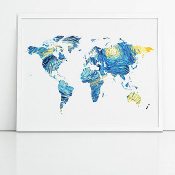 World map in blue and yellow. Starry night world map print, ideal new home or dorm room gift.