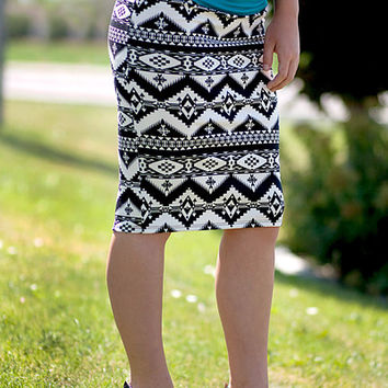 Pencil Skirt - Aztec Black/Ivory