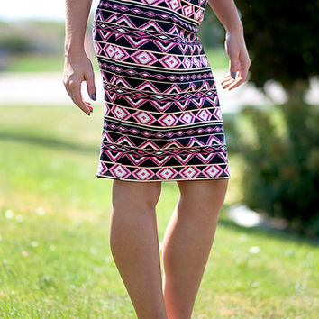 Pencil Skirt - Pink Diamonds
