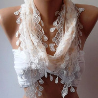 Elegance Shawl // Scarf with Lacy Edge by womann on Etsy