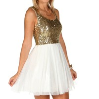 Ivory Sequin Party Dress