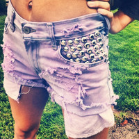 Acid Washed High Rise Studded Shorts in Purple by UrbanEclectics
