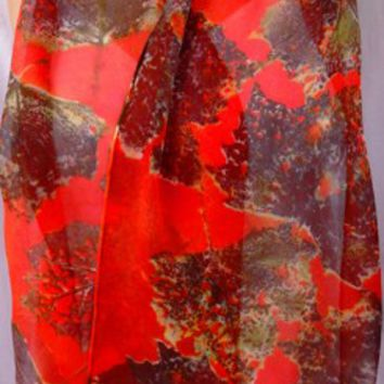 Autumn Leaf silk chiffon scarf unique browns orange garibaldi women