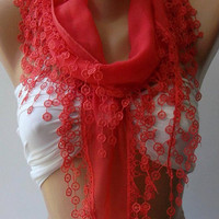 pomegranate flower Elegance Shawl // Scarf with Lace by womann