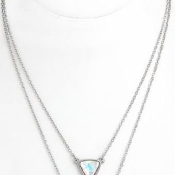 Iridescent Silver Chain Necklace