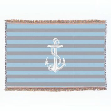 Vintage Anchor Gray Blue Stripe Throw Blanket