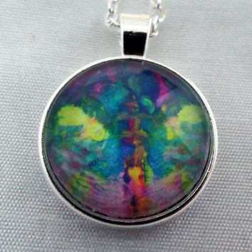 "Necklace, Free shipping, Handcrafted, Affordable, Jewelry, ""Butterfly"", Multi-Color, Design, Rainbow,  Handmade, Silver, Gift, Abstract, Art"