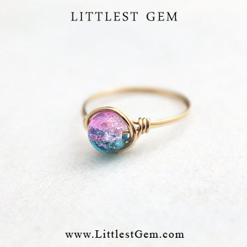 Cotton Candy Ring - unique rings - custom - faux opal ring
